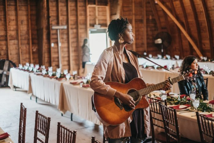 Live Guitarist at Wedding Ceremony: Boho Jewel Tone Wedding at Bramblewood from Tied & True Photography featured on Burgh Brides