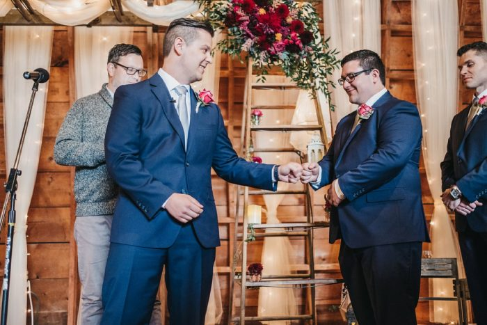 Groom and Best Man: Boho Jewel Tone Wedding at Bramblewood from Tied & True Photography featured on Burgh Brides