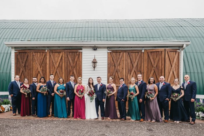 Jewel Tone Bridesmaids Dresses: Boho Jewel Tone Wedding at Bramblewood from Tied & True Photography featured on Burgh Brides