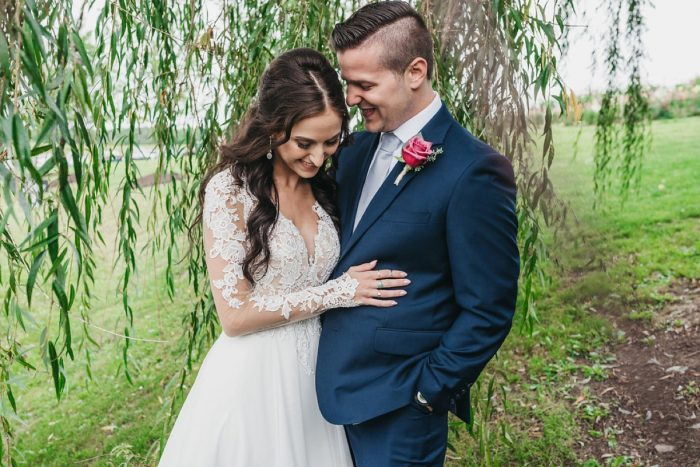 Outdoor Bride and Groom Portraits: Boho Jewel Tone Wedding at Bramblewood from Tied & True Photography featured on Burgh Brides