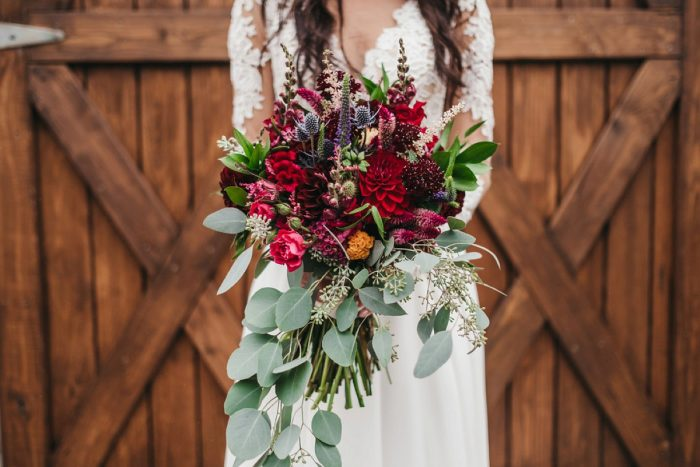 Boho Wedding Bouquet: Boho Jewel Tone Wedding at Bramblewood from Tied & True Photography featured on Burgh Brides