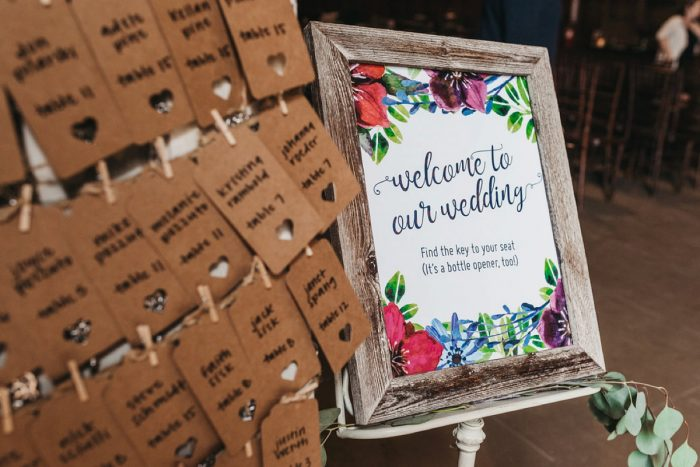 Floral Wedding Welcome Sign: Boho Jewel Tone Wedding at Bramblewood from Tied & True Photography featured on Burgh Brides
