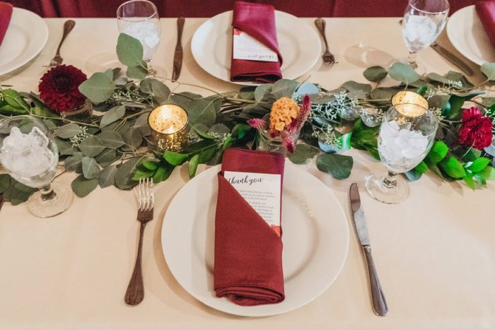 Greenery Wedding Table Runner: Boho Jewel Tone Wedding at Bramblewood from Tied & True Photography featured on Burgh Brides