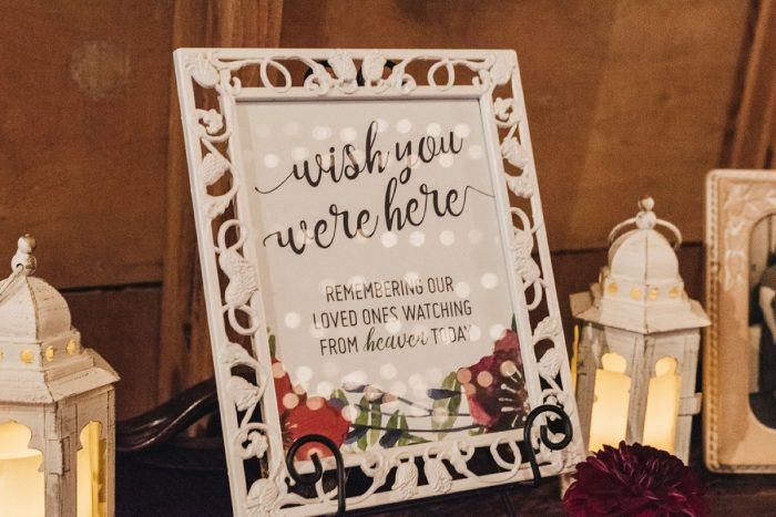 Wedding Memorial Table Ideas: Boho Jewel Tone Wedding at Bramblewood from Tied & True Photography featured on Burgh Brides