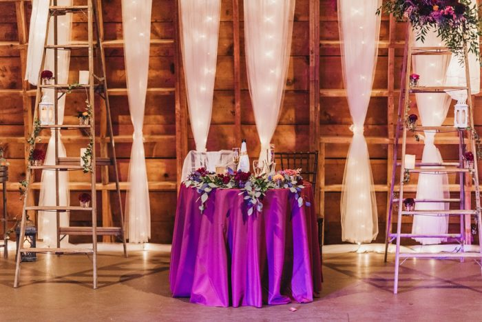 Wedding Sweetheart Table: Boho Jewel Tone Wedding at Bramblewood from Tied & True Photography featured on Burgh Brides