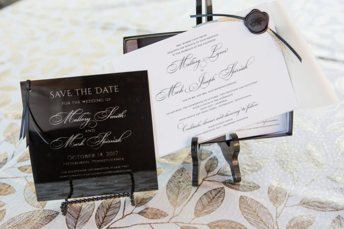 Classic Black and White Wedding Invitations: Elegant Black & White Wedding at Noah's Event Venue from Studio Bash featured on Burgh Brides
