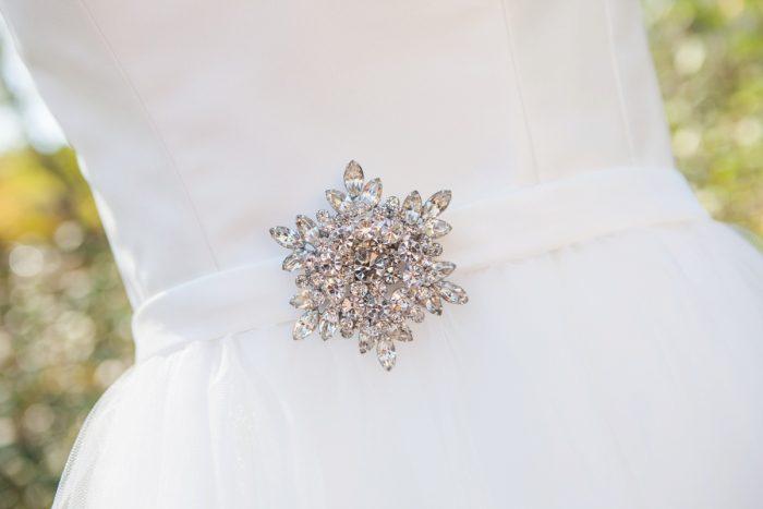 Beaded Bridal Belt on Wedding Dress: Elegant Black & White Wedding at Noah's Event Venue: Mallory & Mark