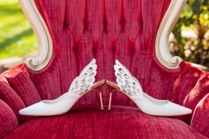 White Bridal Shoes for Wedding Day: Elegant Black & White Wedding at Noah's Event Venue: Mallory & Mark