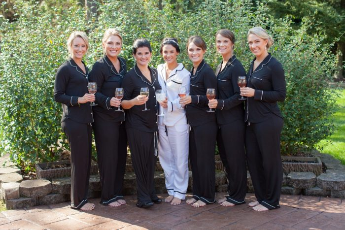Matching Satin Pajamas for Bride and Bridesmaids: Elegant Black & White Wedding at Noah's Event Venue: Mallory & Mark