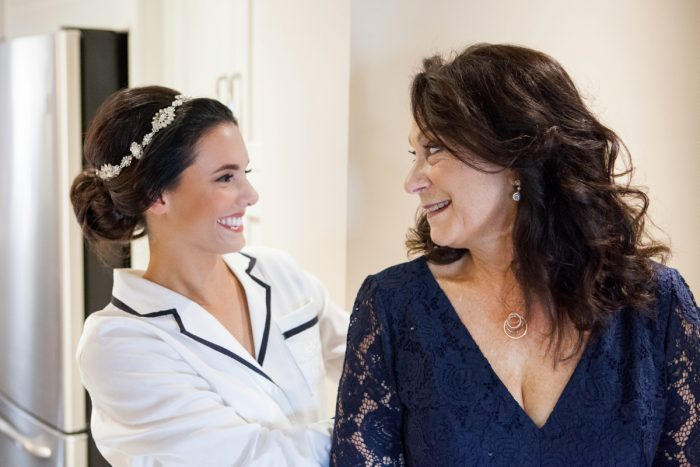 Bride and Mother of Bride on Wedding Morning: Elegant Black & White Wedding at Noah's Event Venue: Mallory & Mark