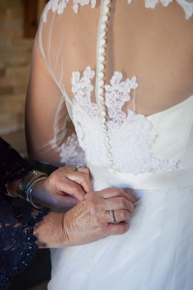Lace Back Wedding Dress: Elegant Black & White Wedding at Noah's Event Venue: Mallory & Mark