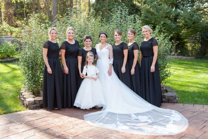Black Bridesmaids Dresses: Elegant Black & White Wedding at Noah's Event Venue: Mallory & Mark