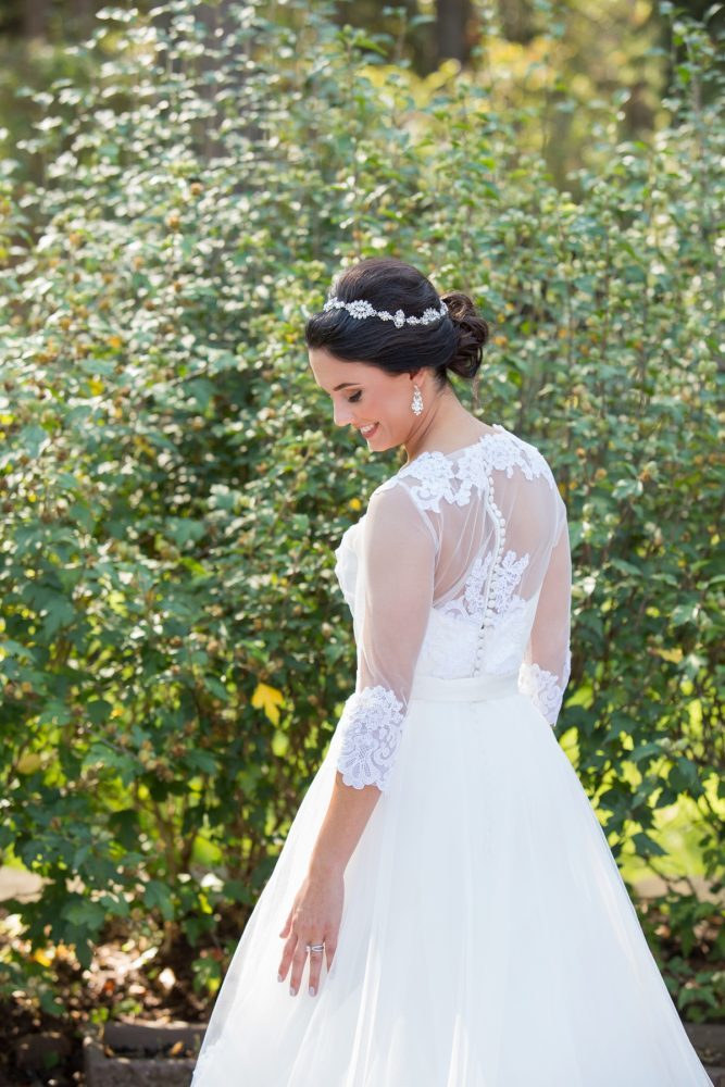 Lace Back Wedding Dress: Elegant Black & White Wedding at Noah's Event Venue: Mallory & Mark