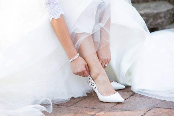 White Bridal Shoes: Elegant Black & White Wedding at Noah's Event Venue: Mallory & Mark