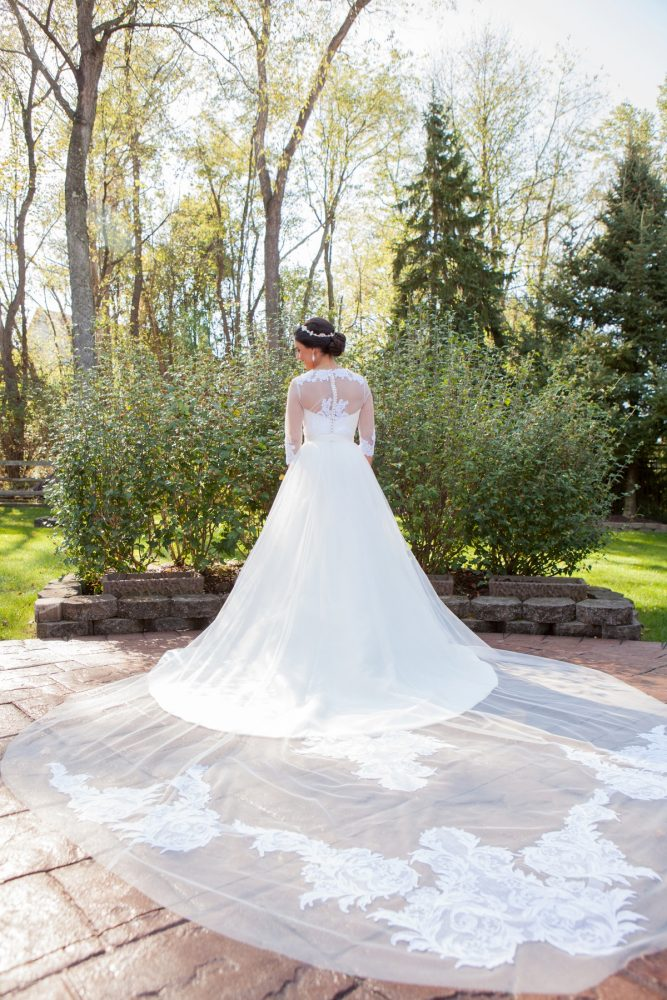 Custom Lace Train on Wedding Dress: Elegant Black & White Wedding at Noah's Event Venue: Mallory & Mark