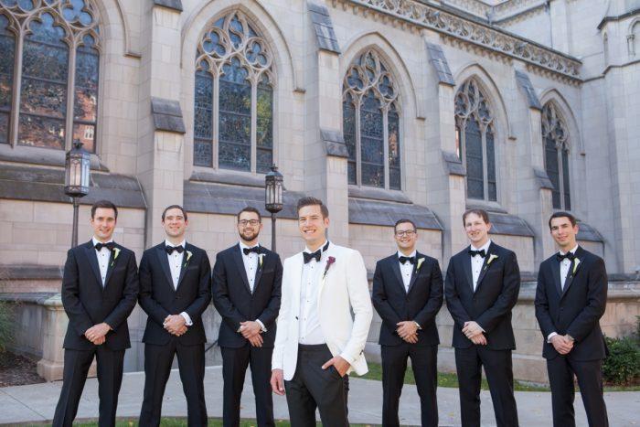 White Tuxedo Jacket on Groom: Elegant Black & White Wedding at Noah's Event Venue: Mallory & Mark