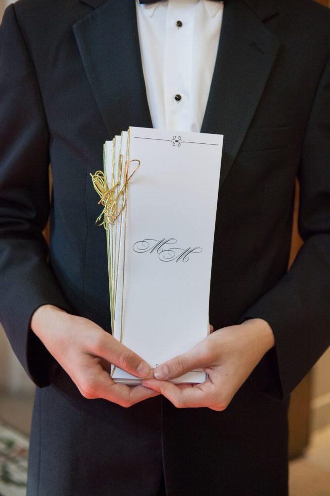 Wedding Ceremony Program Ideas: Elegant Black & White Wedding at Noah's Event Venue: Mallory & Mark