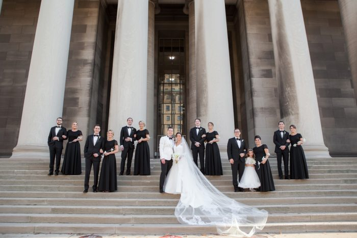 Black and White Wedding Party Attire: Elegant Black & White Wedding at Noah's Event Venue: Mallory & Mark