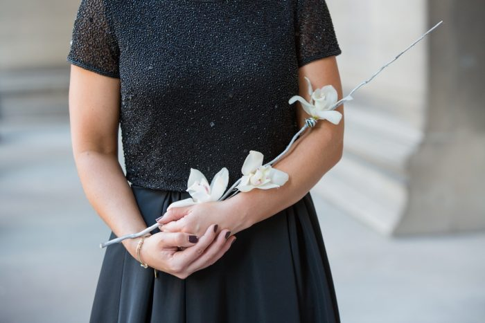 Bridesmaid Bouquet Alternatives: Elegant Black & White Wedding at Noah's Event Venue: Mallory & Mark
