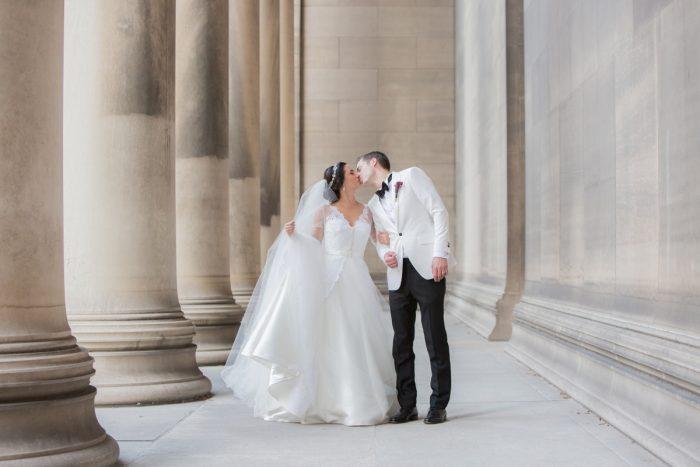 Romantic Bride and Groom Portraits: Elegant Black & White Wedding at Noah's Event Venue: Mallory & Mark