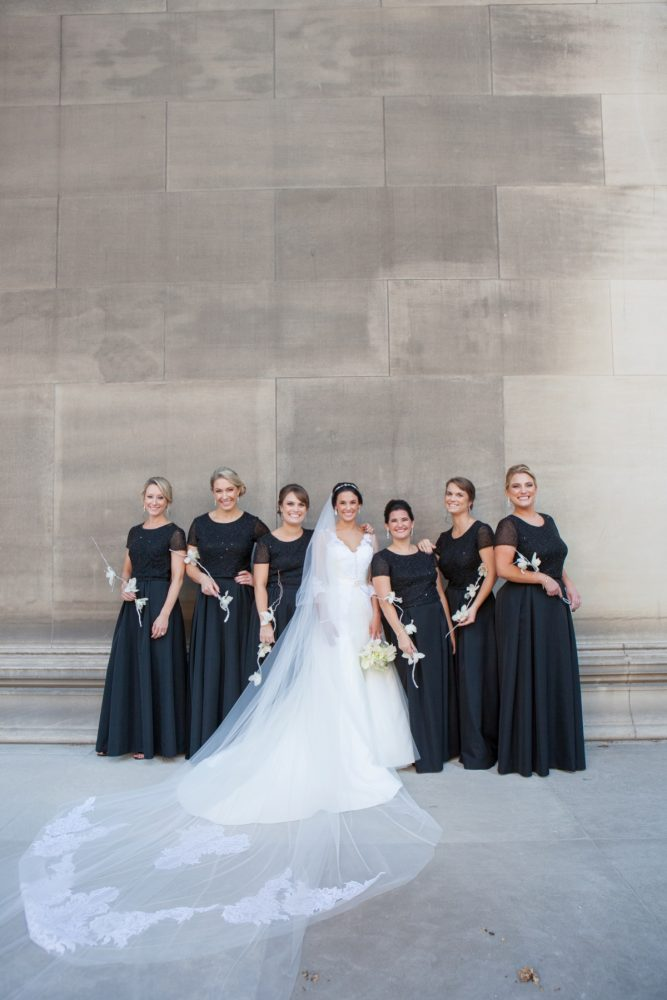 Black Bridesmaids Dresses: Elegant Black & White Wedding at Noah's Event Venue: Mallory & Mark