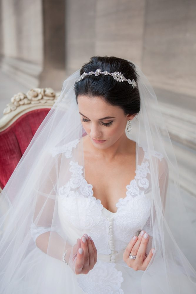 Rhinestone Bridal Headpiece: Elegant Black & White Wedding at Noah's Event Venue: Mallory & Mark