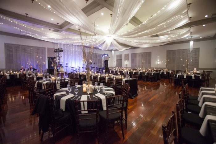 Wedding Ceiling Draping with Uplights: Elegant Black & White Wedding at Noah's Event Venue: Mallory & Mark