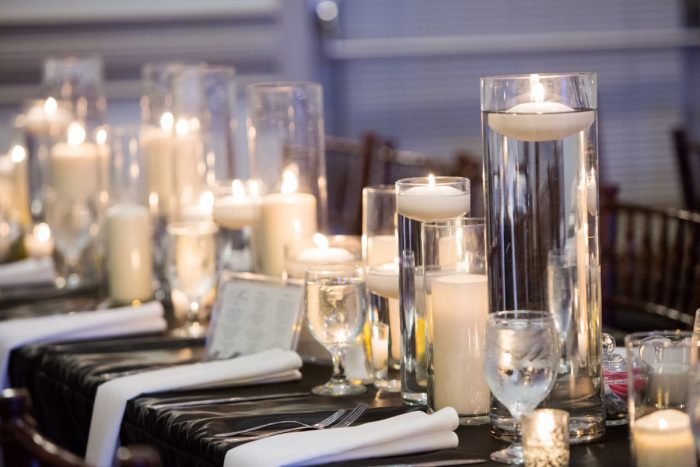 Floating Candle Centerpieces at Wedding: Elegant Black & White Wedding at Noah's Event Venue: Mallory & Mark