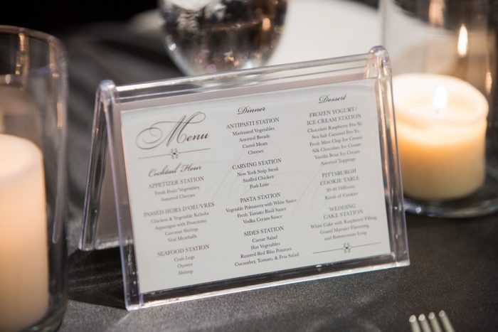 Wedding Menu Signs: Elegant Black & White Wedding at Noah's Event Venue: Mallory & Mark