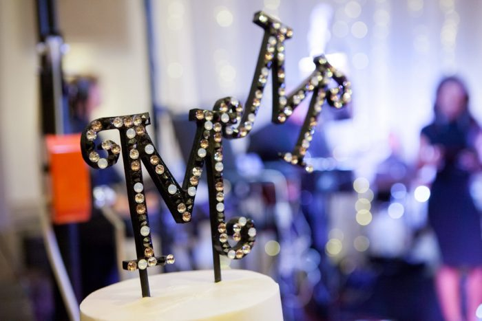 Rhinestone Wedding Cake Topper: Elegant Black & White Wedding at Noah's Event Venue: Mallory & Mark