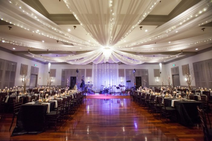 Wedding Reception Draping and Uplighting: Elegant Black & White Wedding at Noah's Event Venue: Mallory & Mark