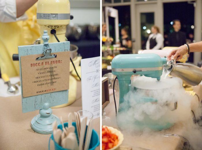 Wedding Dessert Alternative Frozen Yogurt Station: Elegant Black & White Wedding at Noah's Event Venue: Mallory & Mark