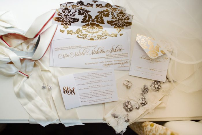 Gold & White Wedding Invitations: Flawless Gold & White Wedding at Fox Chapel Golf Club from Michael Will Photography featured on Burgh Brides