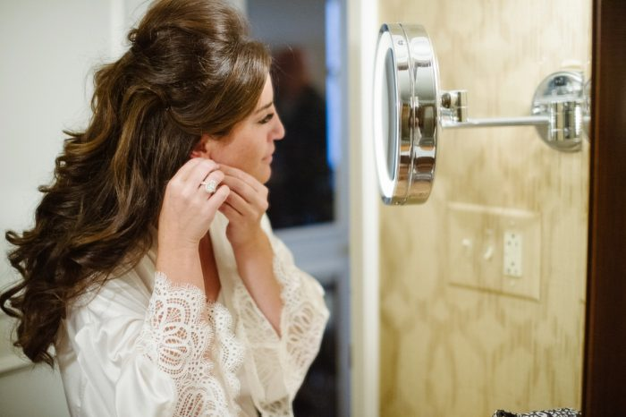 Lace Bridal Robe: Flawless Gold & White Wedding at Fox Chapel Golf Club from Michael Will Photography featured on Burgh Brides