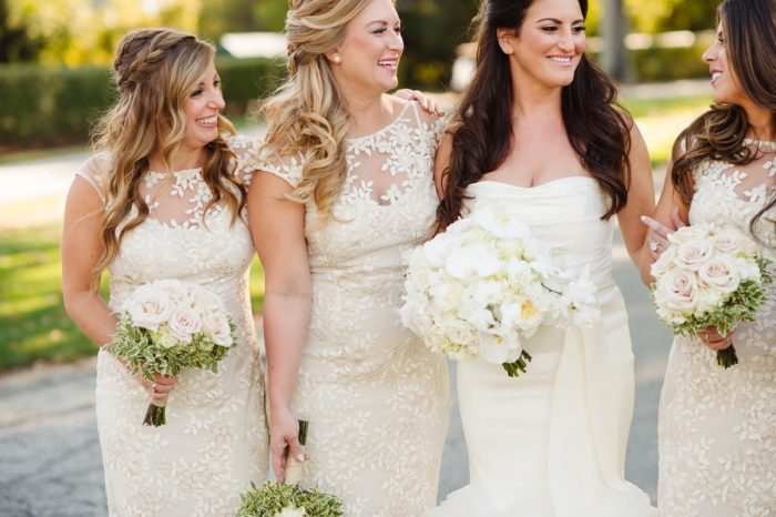 Ivory Lace Bridesmaids Dresses: Flawless Gold & White Wedding at Fox Chapel Golf Club from Michael Will Photography featured on Burgh Brides