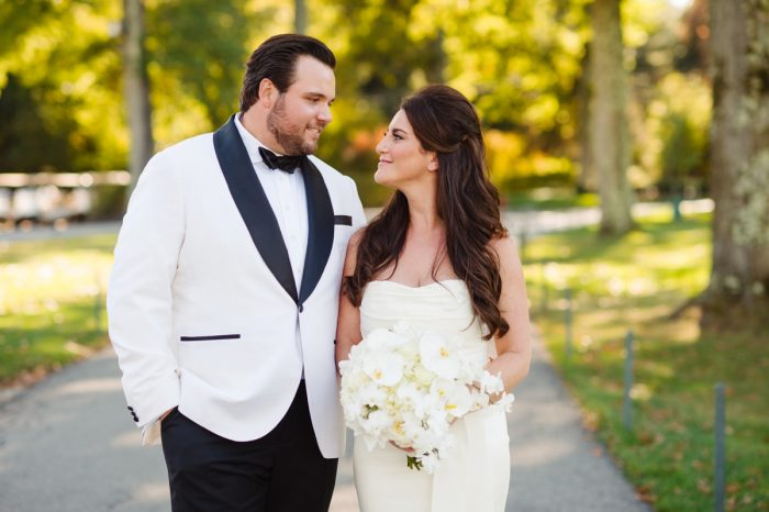 Outdoor Wedding Portraits: Flawless Gold & White Wedding at Fox Chapel Golf Club from Michael Will Photography featured on Burgh Brides