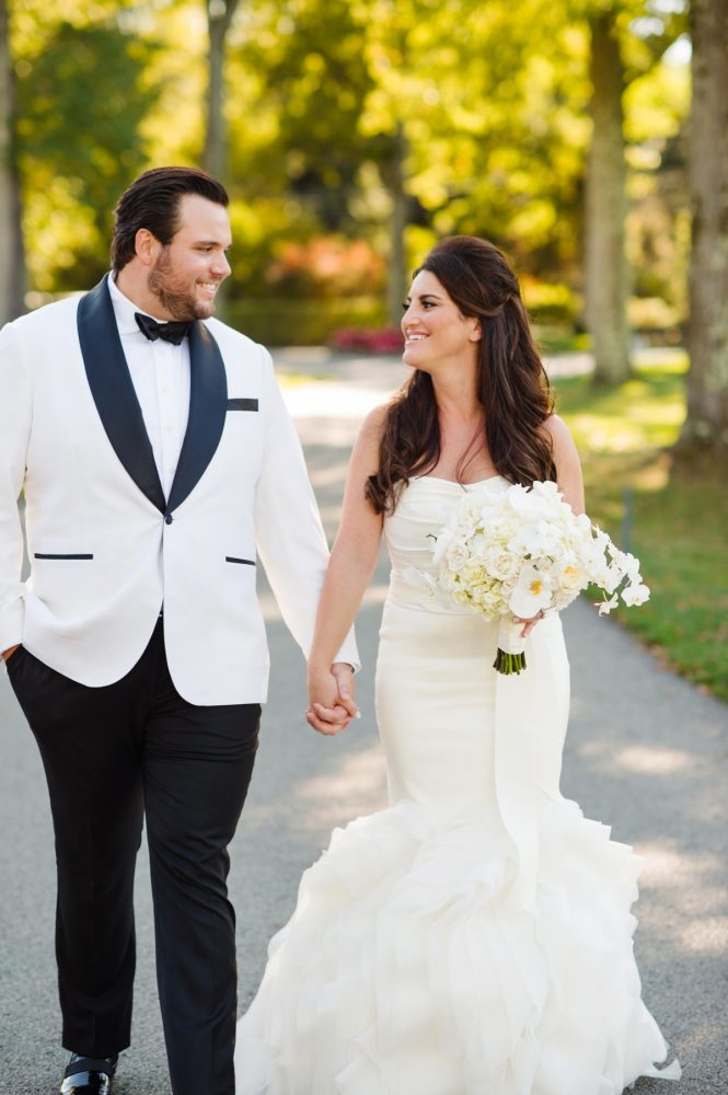 White Tuxedo Jacket on Groom: Flawless Gold & White Wedding at Fox Chapel Golf Club from Michael Will Photography featured on Burgh Brides