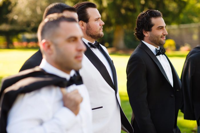 Modern Wedding Attire for Men: Flawless Gold & White Wedding at Fox Chapel Golf Club from Michael Will Photography featured on Burgh Brides