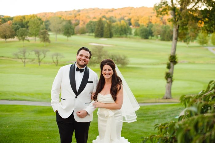 Fit and Flare Wedding Dress: Flawless Gold & White Wedding at Fox Chapel Golf Club from Michael Will Photography featured on Burgh Brides