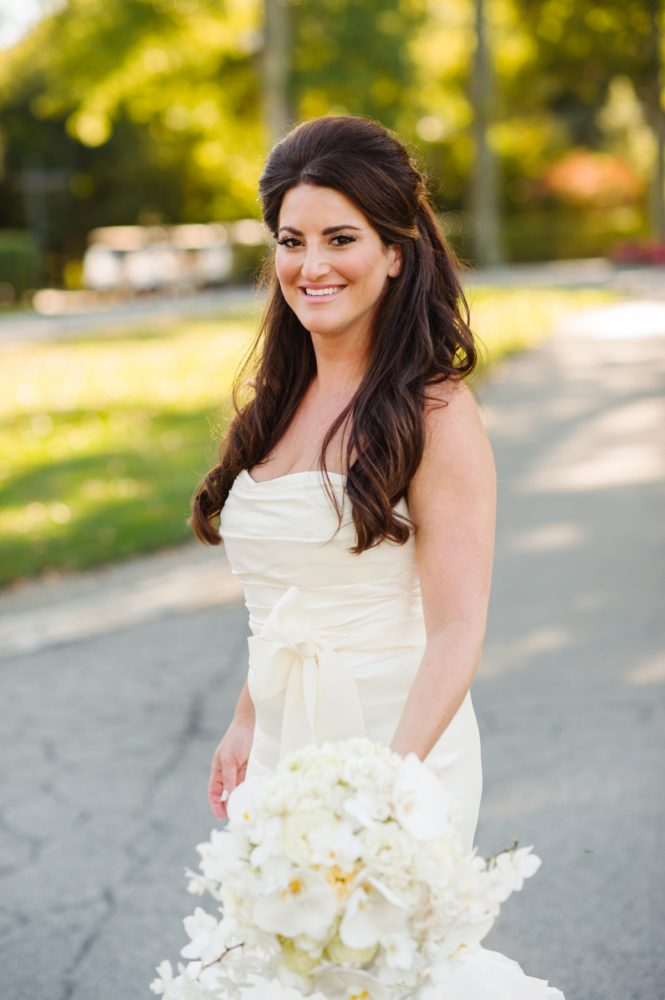 Bride with Hair Down on Wedding Day: Flawless Gold & White Wedding at Fox Chapel Golf Club from Michael Will Photography featured on Burgh Brides