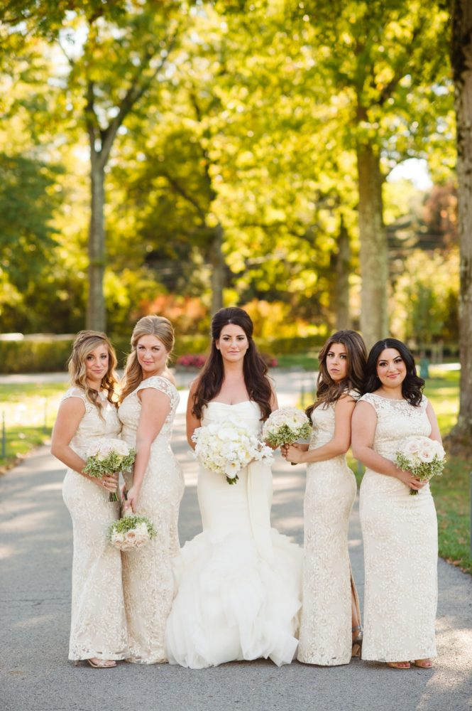 Ivory Bridesmaids Dresses: Flawless Gold & White Wedding at Fox Chapel Golf Club from Michael Will Photography featured on Burgh Brides