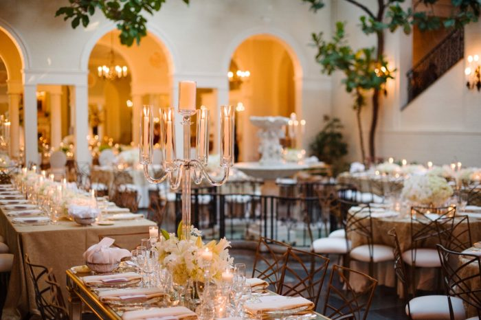 Crystal Candelabra Wedding Centerpieces: Flawless Gold & White Wedding at Fox Chapel Golf Club from Michael Will Photography featured on Burgh Brides