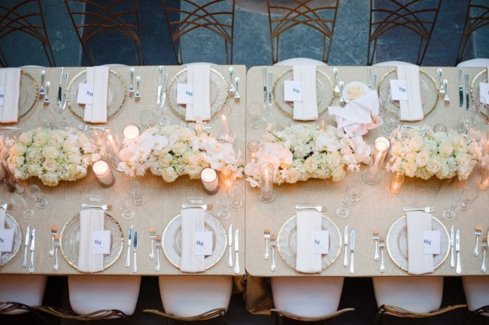 Ivory and Gold Wedding Tablescape: Flawless Gold & White Wedding at Fox Chapel Golf Club from Michael Will Photography featured on Burgh Brides
