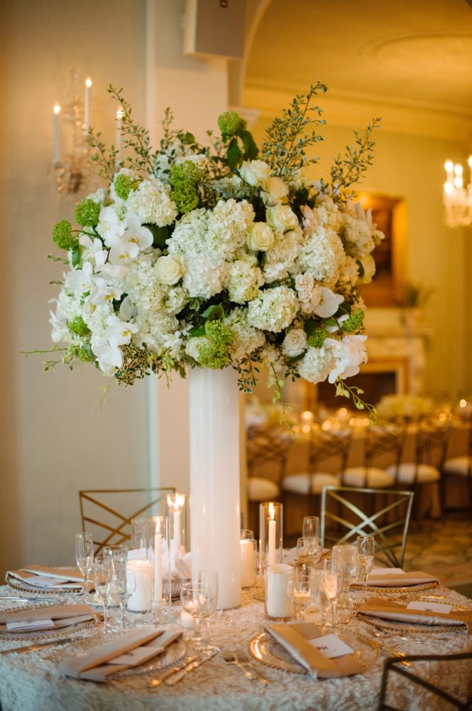 Elevated Wedding Centerpieces: Flawless Gold & White Wedding at Fox Chapel Golf Club from Michael Will Photography featured on Burgh Brides
