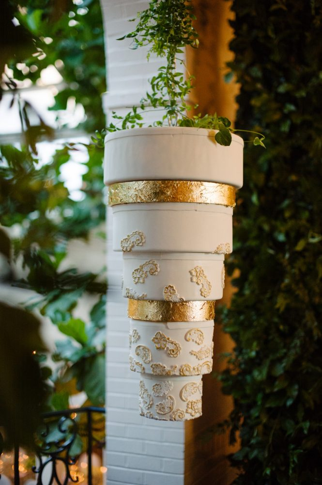 Suspended Upside Down Wedding Cake: Flawless Gold & White Wedding at Fox Chapel Golf Club from Michael Will Photography featured on Burgh Brides
