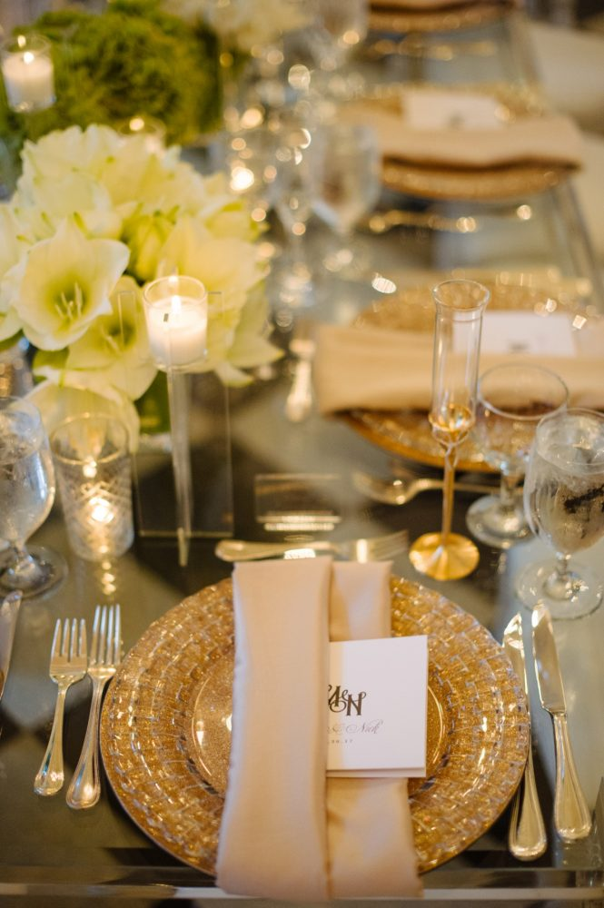 Gold Charger Plates on Wedding Tablescape: Flawless Gold & White Wedding at Fox Chapel Golf Club from Michael Will Photography featured on Burgh Brides