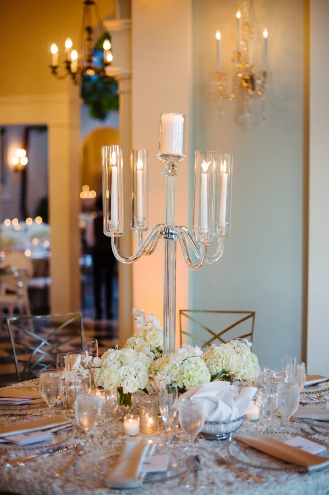 Crystal Candelabras Wedding Centerpieces: Flawless Gold & White Wedding at Fox Chapel Golf Club from Michael Will Photography featured on Burgh Brides