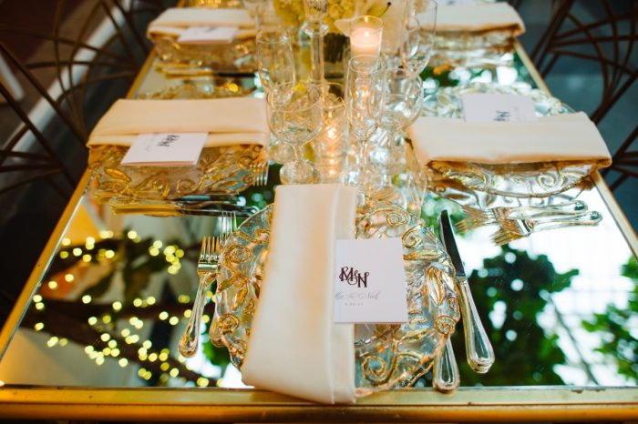 Mirror Tables Wedding Reception: Flawless Gold & White Wedding at Fox Chapel Golf Club from Michael Will Photography featured on Burgh Brides