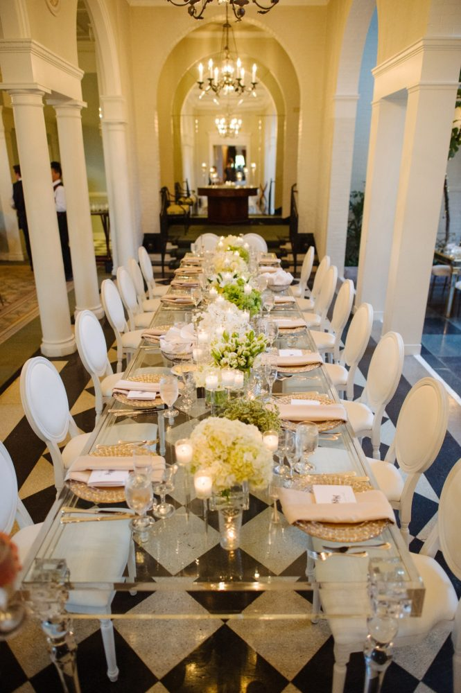 Mirror Table Wedding Reception: Flawless Gold & White Wedding at Fox Chapel Golf Club from Michael Will Photography featured on Burgh Brides