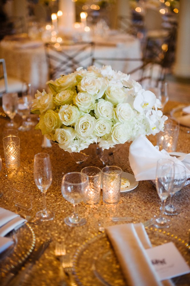 White Floral Wedding Centerpieces: Flawless Gold & White Wedding at Fox Chapel Golf Club from Michael Will Photography featured on Burgh Brides